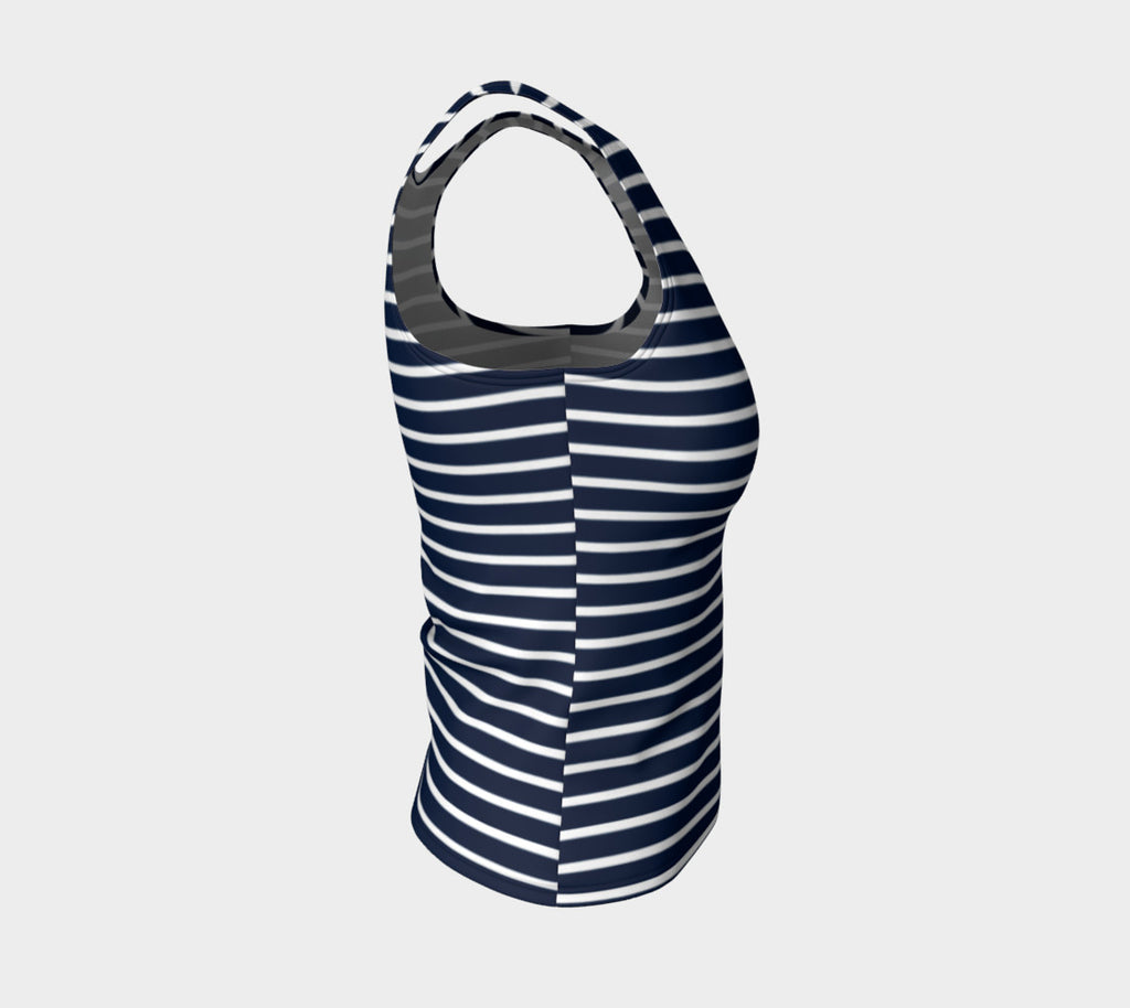 Striped Fitted Tank Top - White on Navy