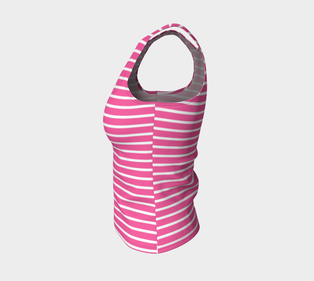 Striped Fitted Tank Top - White on Pink