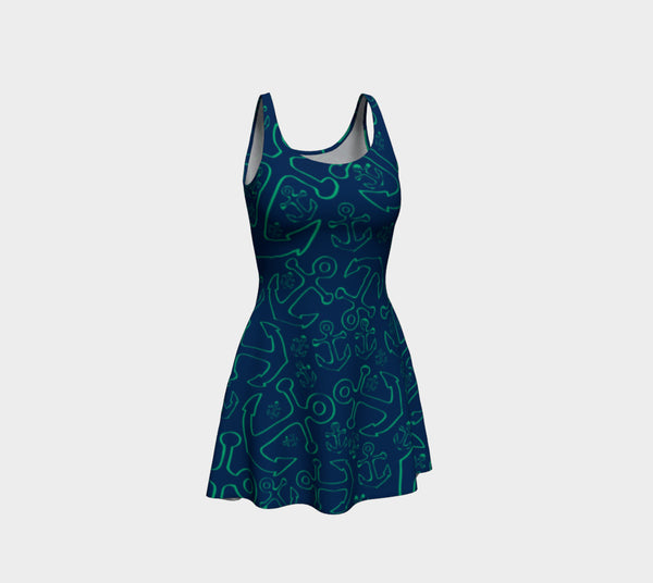 Anchor Dream Flare Dress - Green on Navy - SummerTies