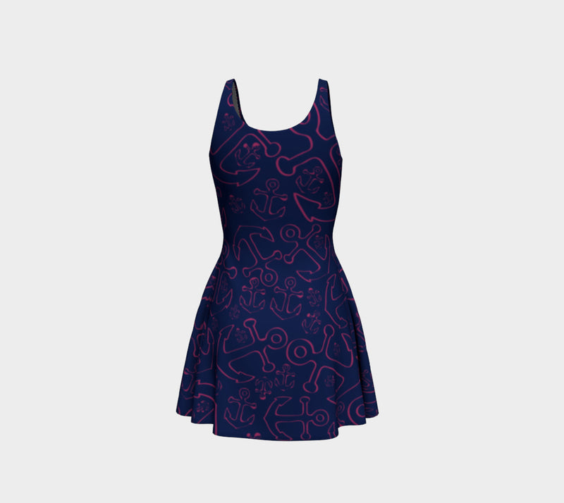 Anchor Dream Flare Dress - Pink on Navy - SummerTies