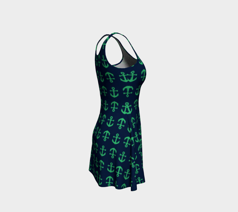 Anchor Toss Flare Dress - Green on Navy - SummerTies