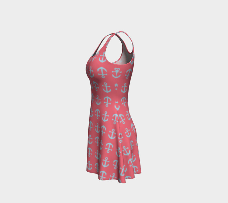 Anchor Toss Flare Dress - Light Blue on Coral - SummerTies