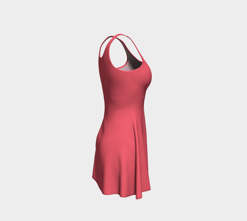 Solid Flare Dress - Coral