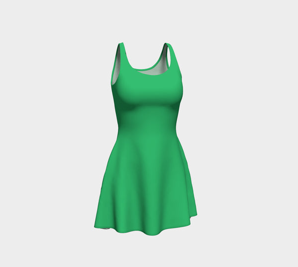 Solid Flare Dress - Green
