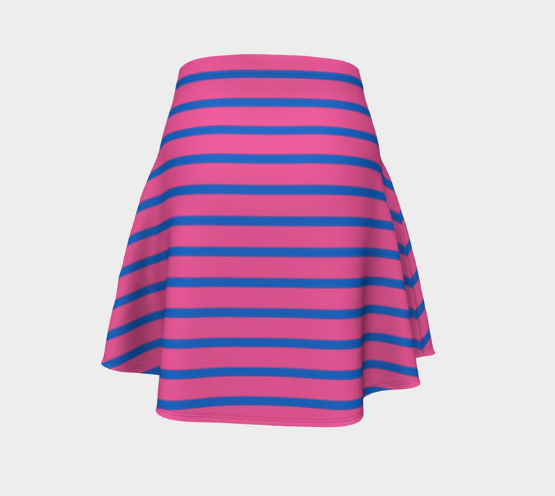 Striped Flare Skirt - Blue on Pink - SummerTies