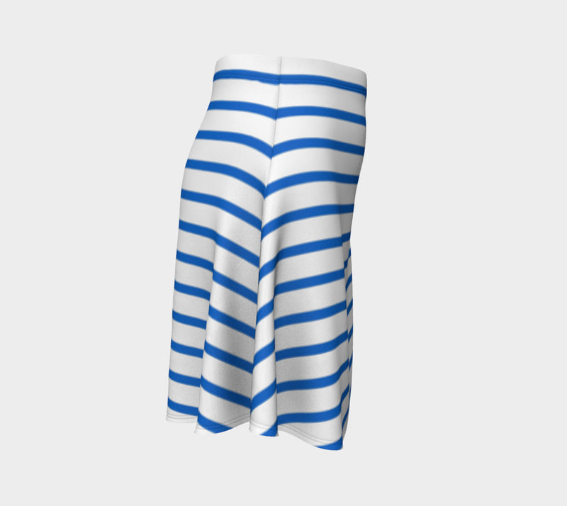 Striped Flare Skirt - Blue on White - SummerTies