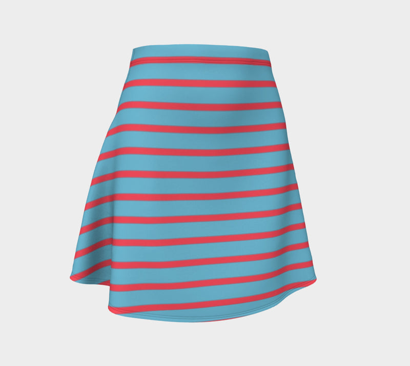 Striped Flare Skirt - Darker Coral on Light Blue - SummerTies