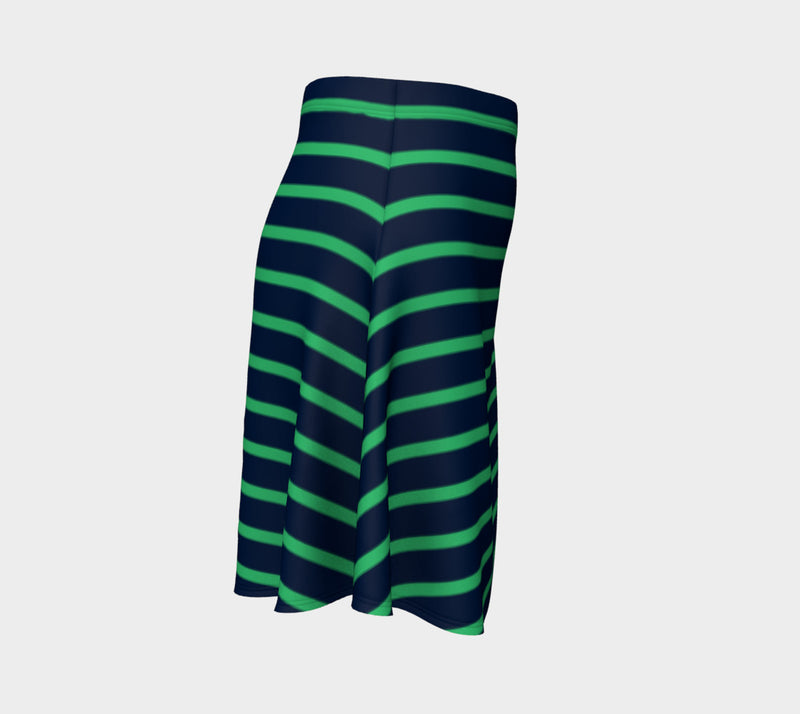 Striped Flare Skirt - Green on Navy - SummerTies