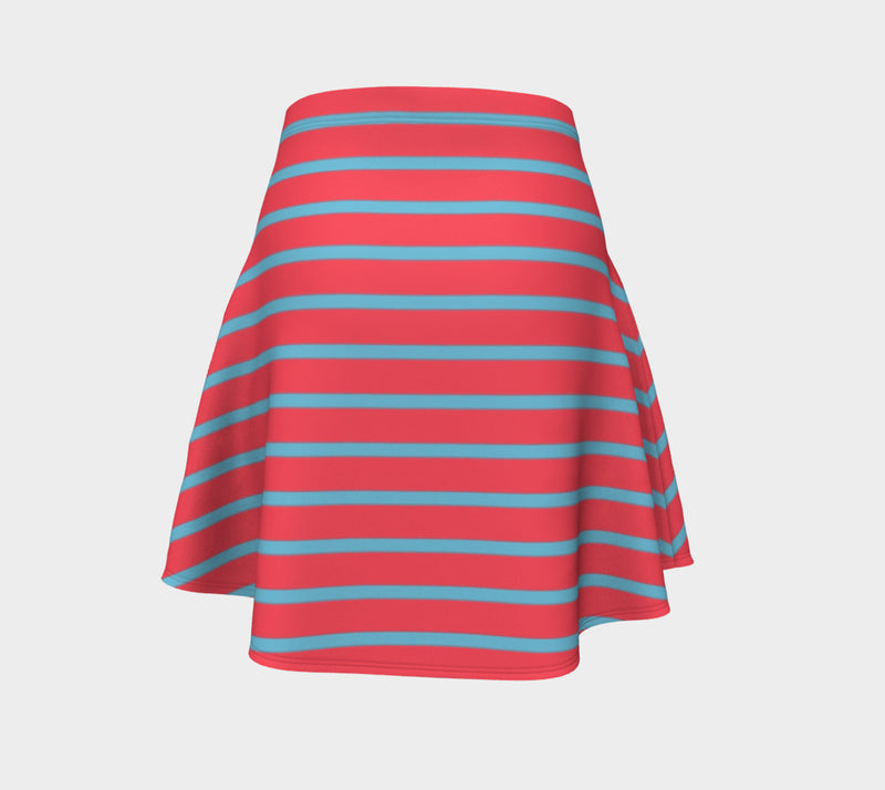 Striped Flare Skirt - Light Blue on Darker Coral - SummerTies