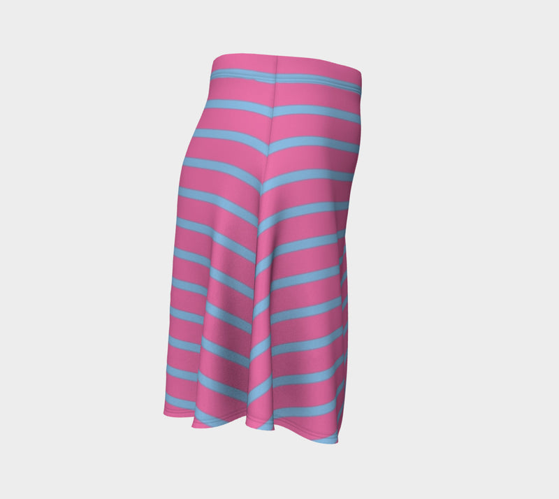 Striped Flare Skirt - Light Blue on Pink - SummerTies
