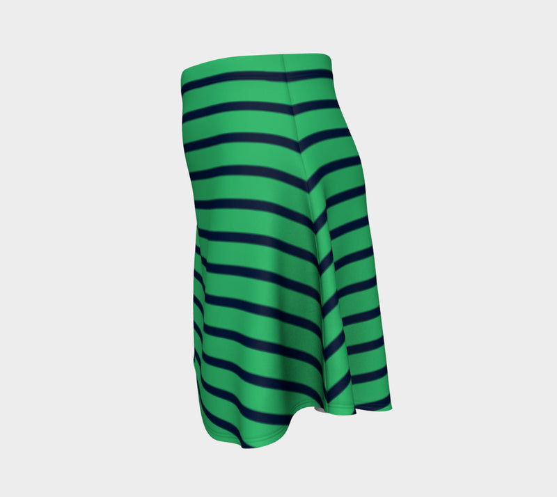Striped Flare Skirt - Navy on Green - SummerTies