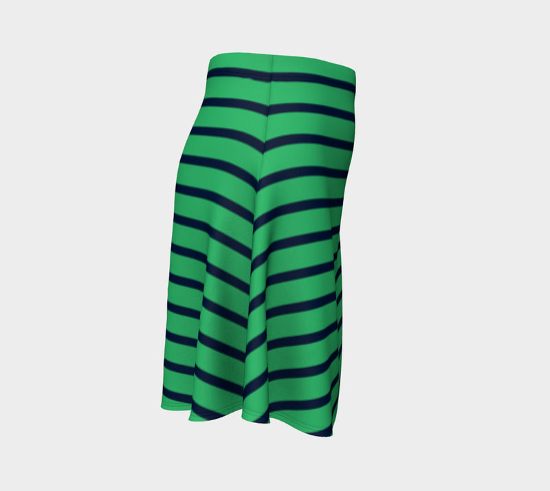 Striped Flare Skirt - Navy on Green