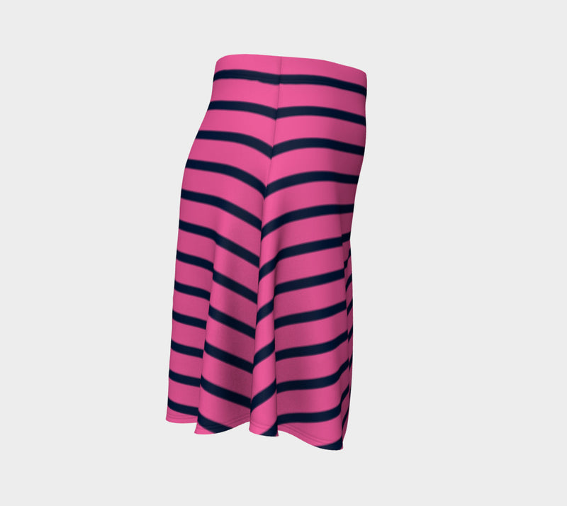 Striped Flare Skirt - Navy on Pink - SummerTies