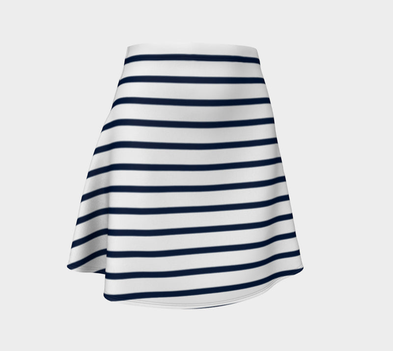 Striped Flare Skirt - Navy on White - SummerTies