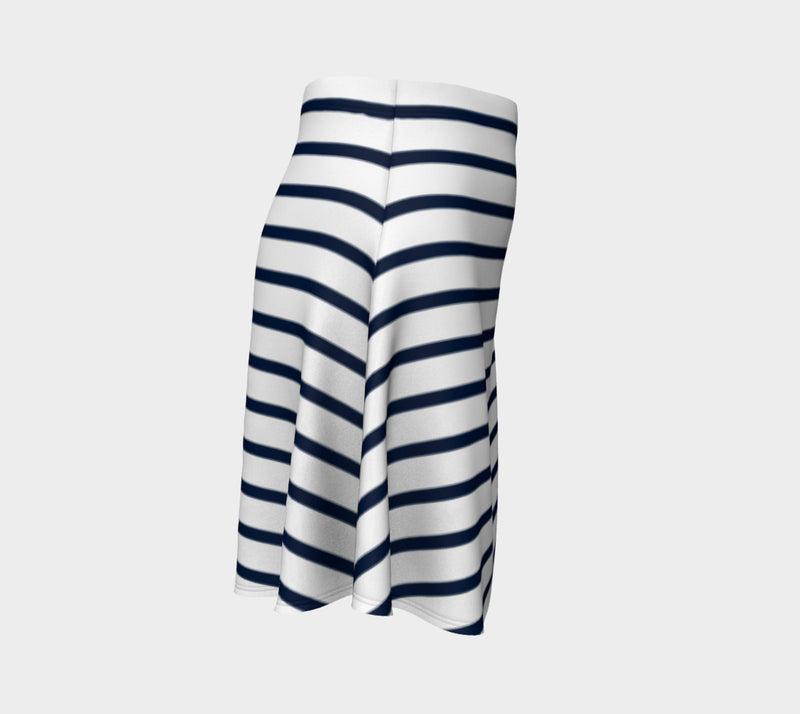Striped Flare Skirt - Navy on White