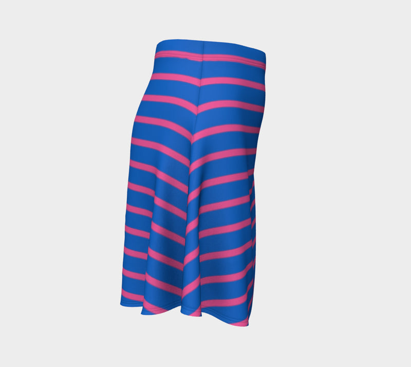 Striped Flare Skirt - Pink on Blue - SummerTies
