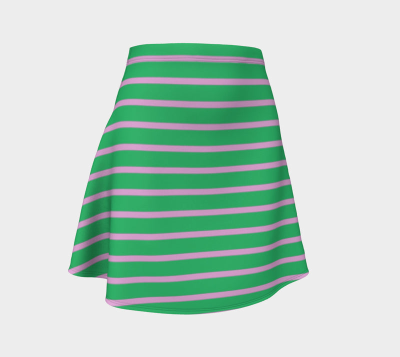 Striped Flare Skirt - Light Pink on Green - SummerTies