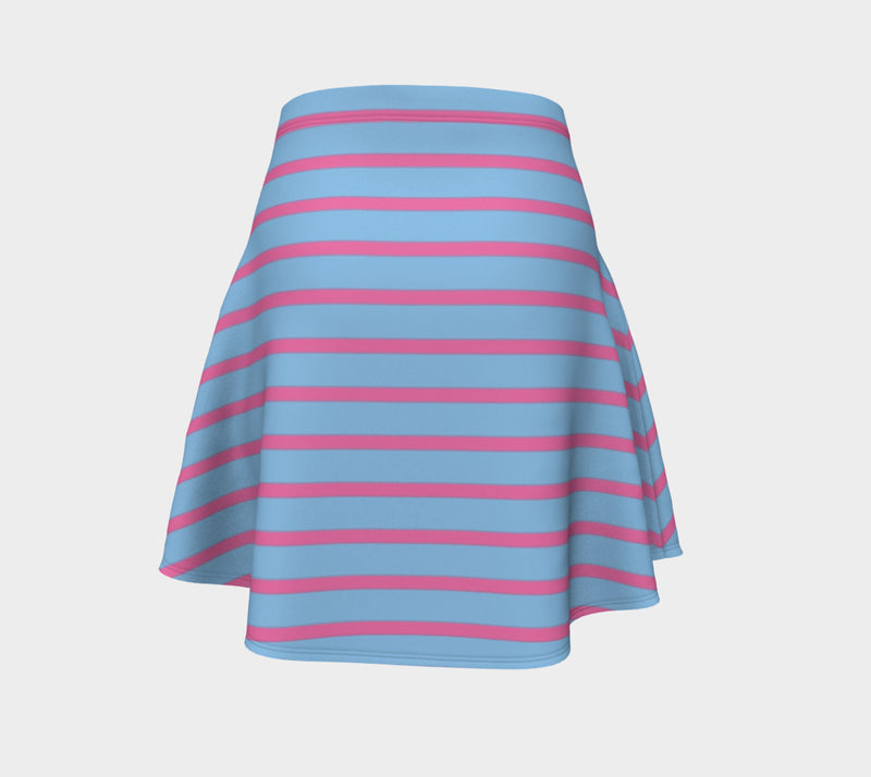 Striped Flare Skirt - Pink on Light Blue - SummerTies