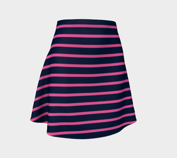 Striped Flare Skirt - Pink on Navy - SummerTies