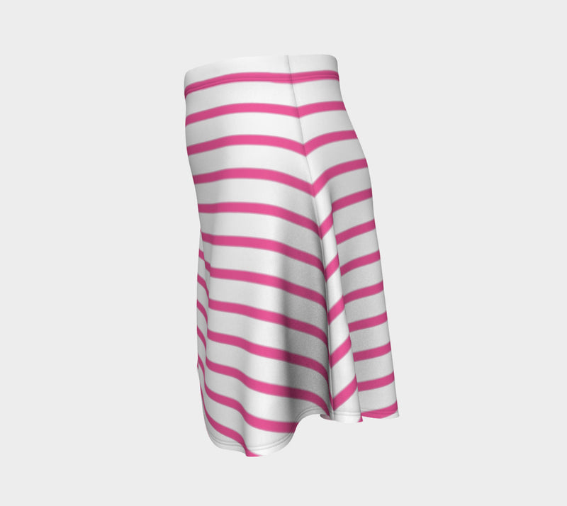 Striped Flare Skirt - Pink on White - SummerTies