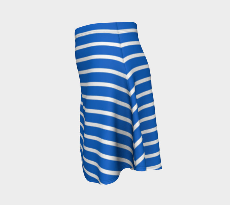 Striped Flare Skirt - White on Blue