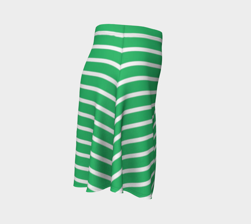 Striped Flare Skirt - White on Green - SummerTies