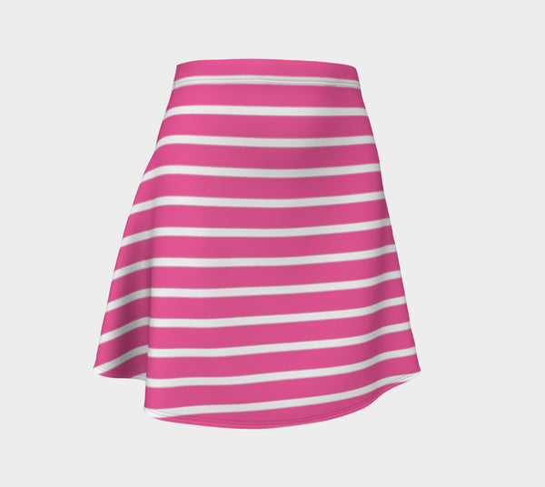 Striped Flare Skirt - White on Pink - SummerTies