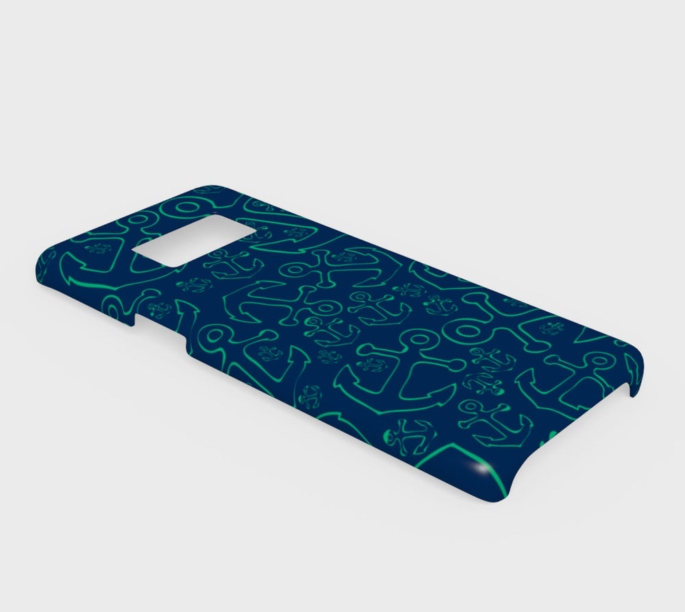 Anchor Dream Cell Phone Case Galaxy S8 - Green on Navy - SummerTies