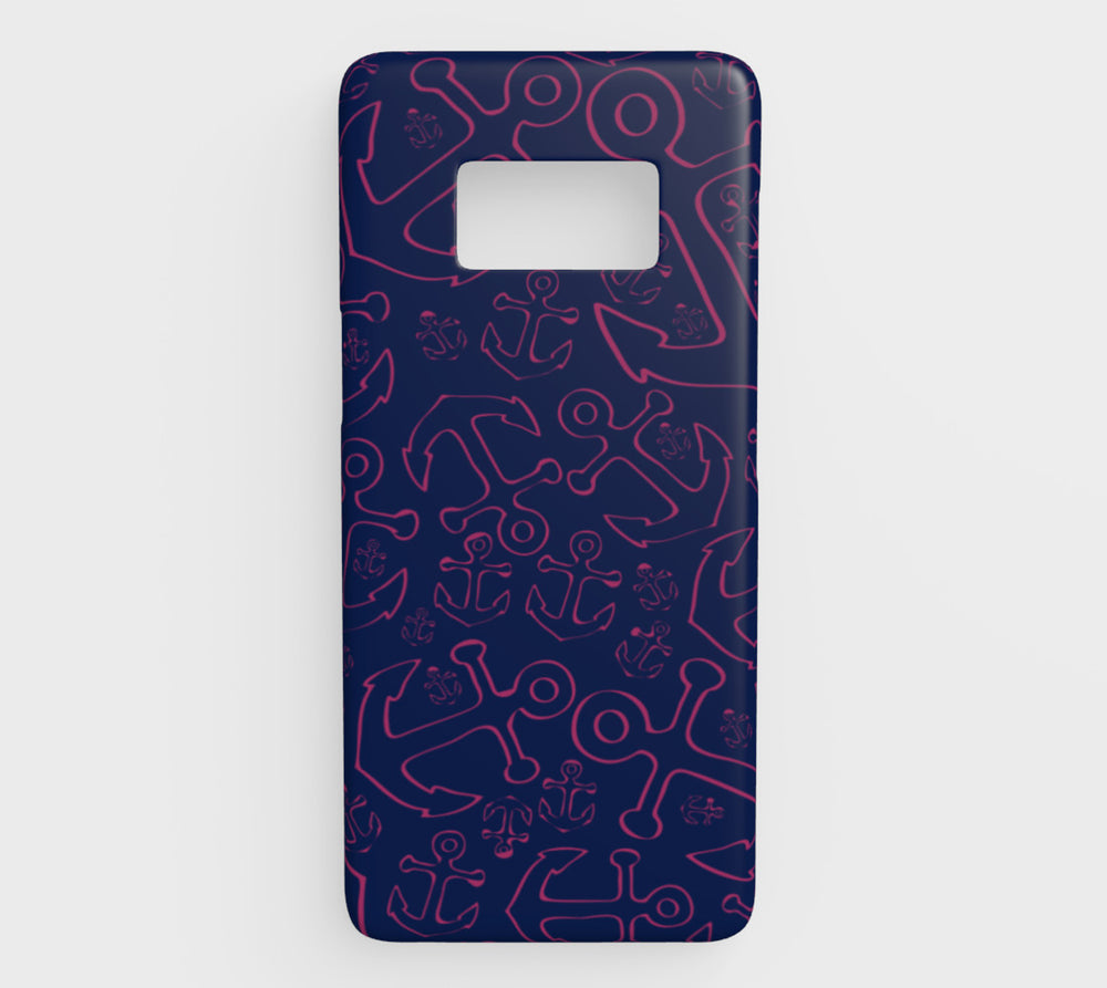 Anchor Dream Cell Phone Case Galaxy S8 - Pink on Navy - SummerTies
