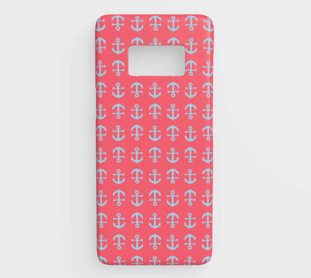 Anchor Toss Cell Phone Case Galaxy S8 - Light Blue on Coral - SummerTies