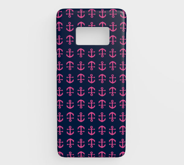 Anchor Toss Cell Phone Case Galaxy S8 - Pink on Navy - SummerTies