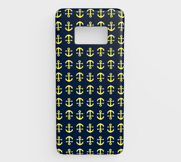 Anchor Toss Cell Phone Case Galaxy S8 - Yellow on Navy - SummerTies