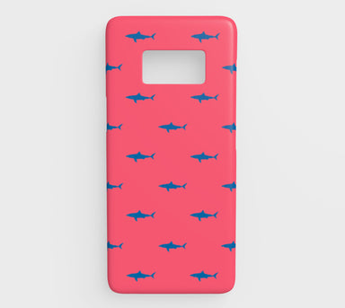 Shark Cell Phone Case Galaxy S8 - Blue on Coral