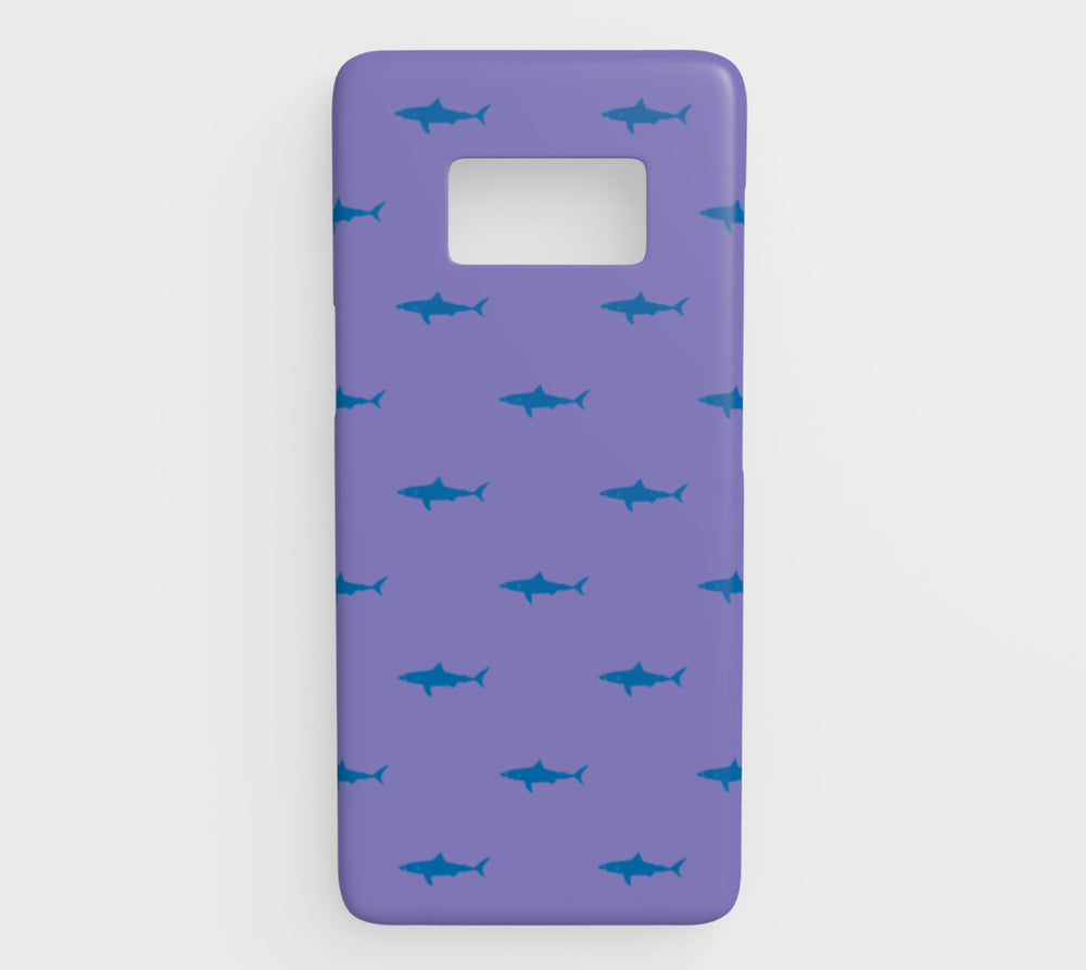 Shark Cell Phone Case Galaxy S8 - Blue on Purple