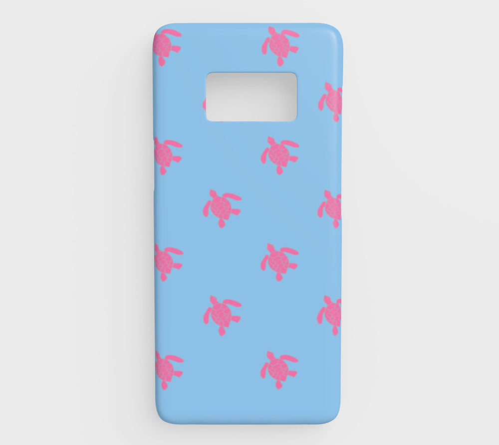 Turtle Cell Phone Case Galaxy S8 - Pink on Blue