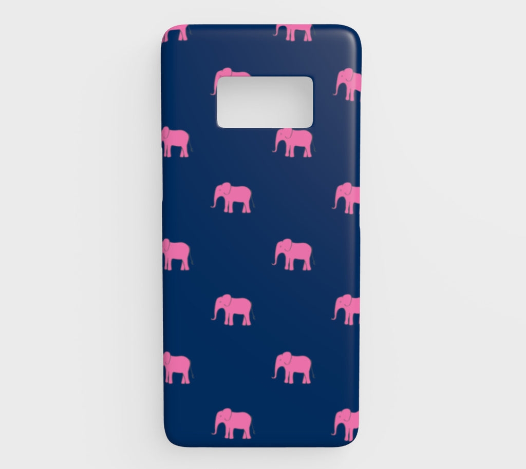 Elephant Cell Phone Case Galaxy S8 - Pink on Navy - SummerTies