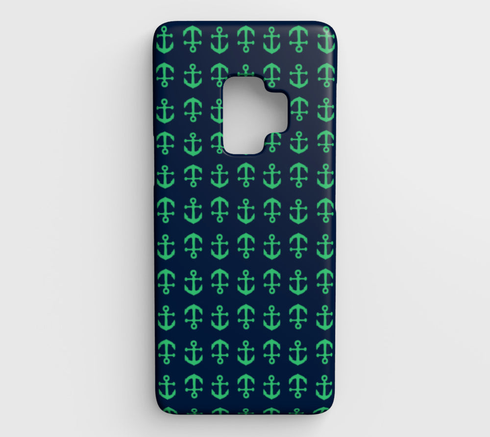 Anchor Toss Cell Phone Case Galaxy S9 - Green on Navy - SummerTies