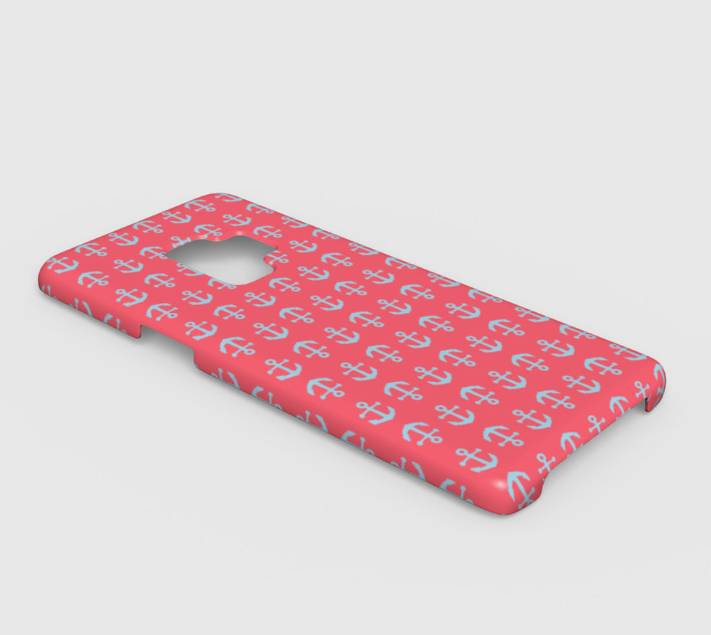 Anchor Toss Cell Phone Case Galaxy S9 - Light Blue on Coral - SummerTies