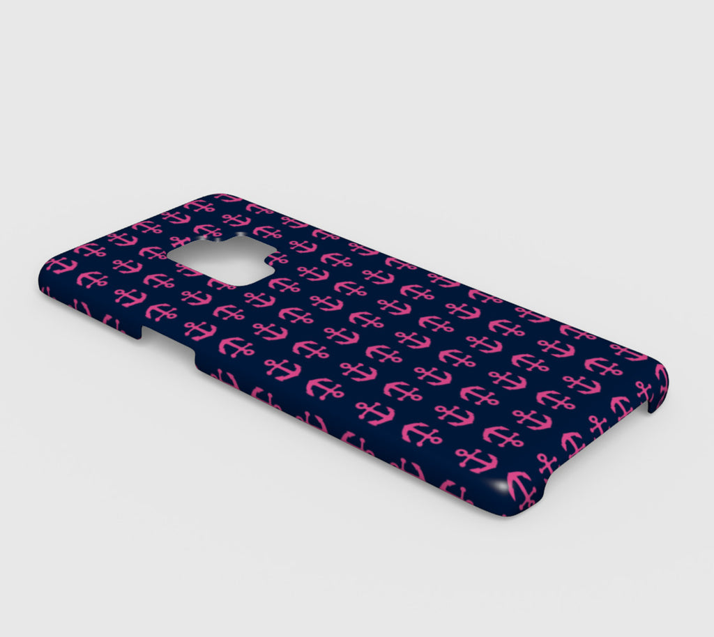 Anchor Toss Cell Phone Case Galaxy S9 - Pink on Navy - SummerTies