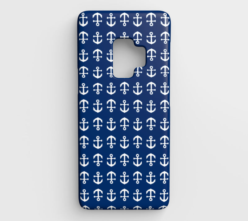 Anchor Toss Cell Phone Case Galaxy S9 - White on Navy - SummerTies