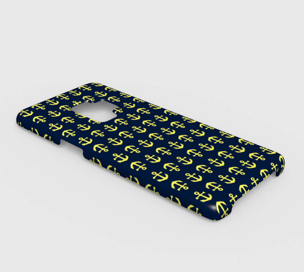 Anchor Toss Cell Phone Case Galaxy S9 - Yellow on Navy - SummerTies