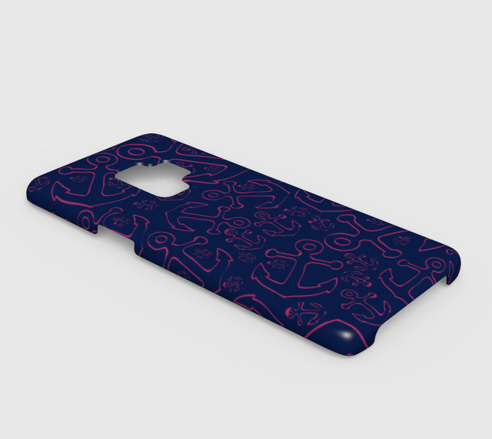 Anchor Dream Cell Phone Case Galaxy S9 - Pink on Navy - SummerTies