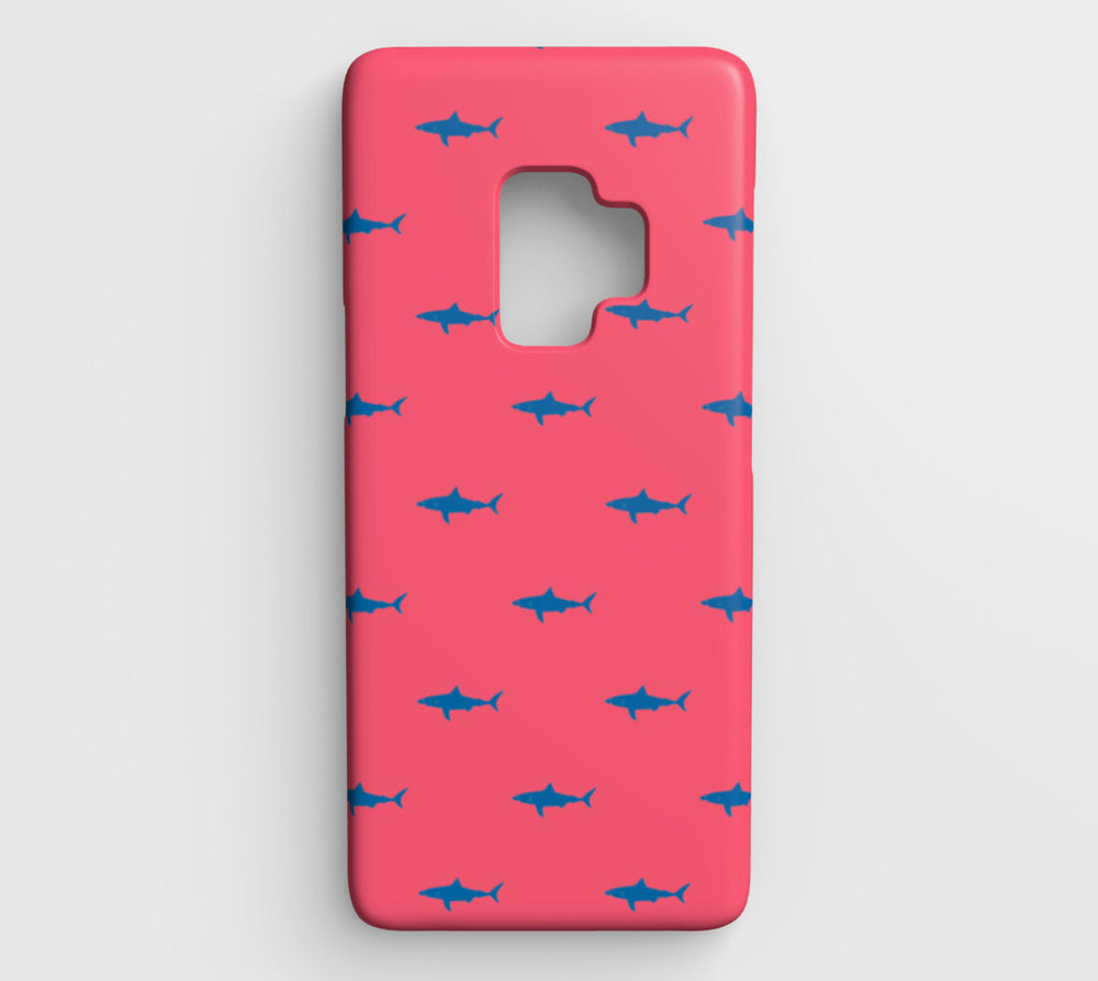 Shark Cell Phone Case Galaxy S9 - Blue on Coral