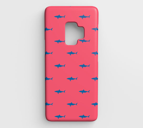 Shark Cell Phone Case Galaxy S9 - Blue on Coral - SummerTies