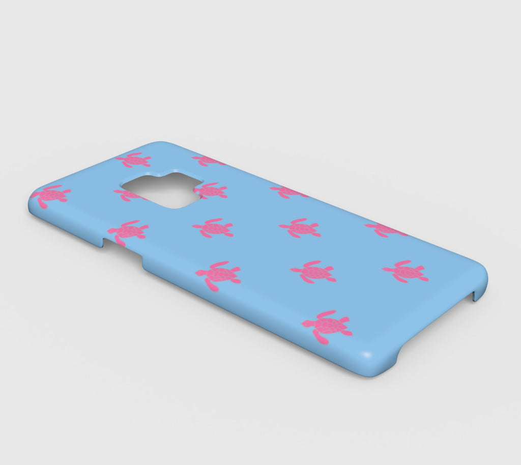 Turtle Cell Phone Case Galaxy S9 - Pink on Blue