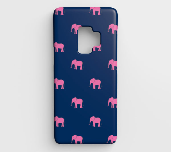 Elephant Cell Phone Case Galaxy S9 - Pink on Navy - SummerTies