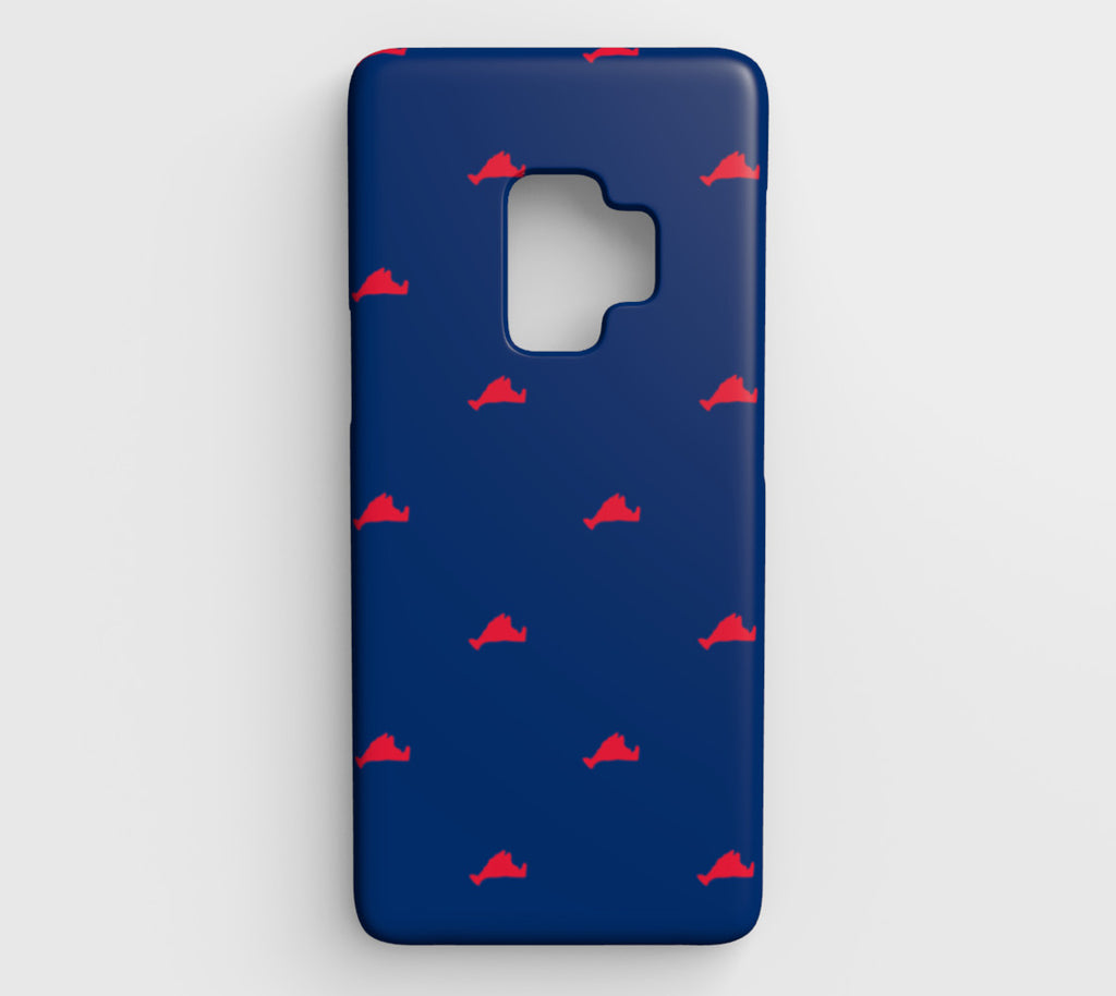 Martha's Vineyard Cell Phone Case Galaxy S9 - Red on Blue - SummerTies