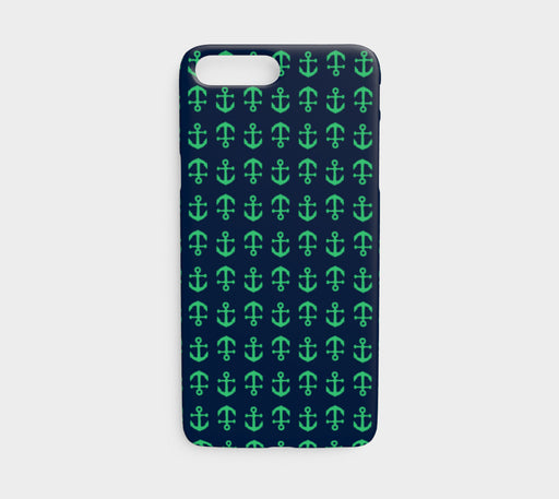 Anchor Toss Cell Phone Case iPhone 7 / 8 - Green on Navy - SummerTies