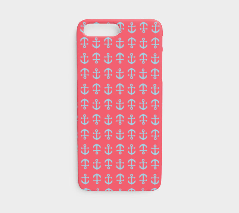 Anchor Toss Cell Phone Case iPhone 7 / 8 - Light Blue on Coral - SummerTies