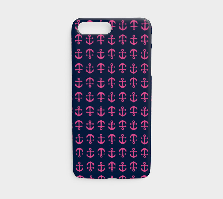 Anchor Toss Cell Phone Case iPhone 7 / 8 - Pink on Navy - SummerTies